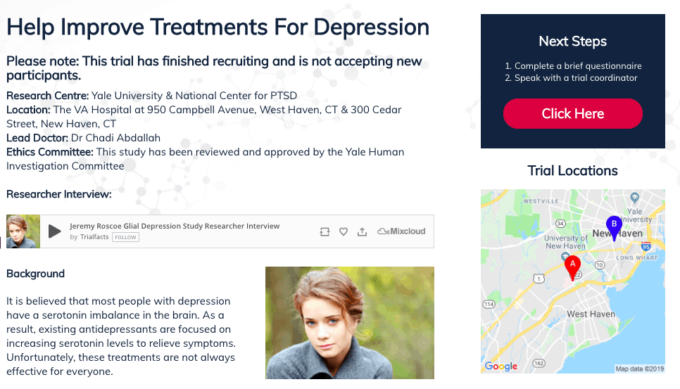 Landing page for the trial designed and created by Trialfacts