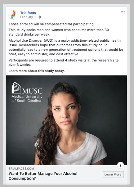 Social media ad for the ARC study