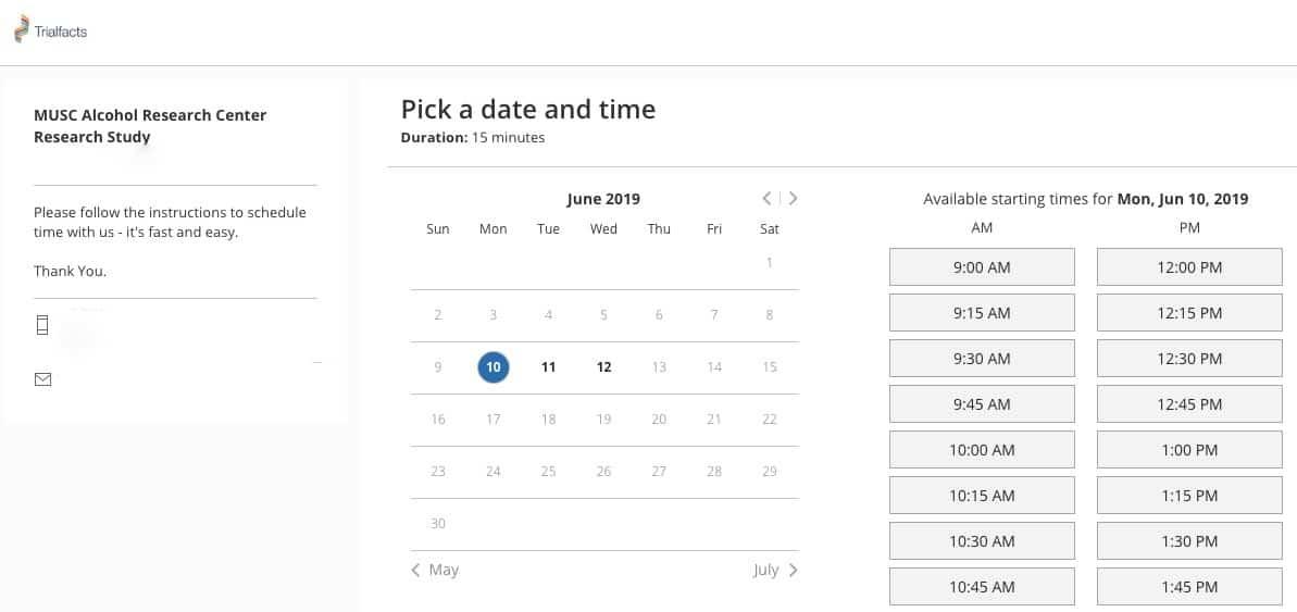 Trialfacts built-in screening scheduling tool