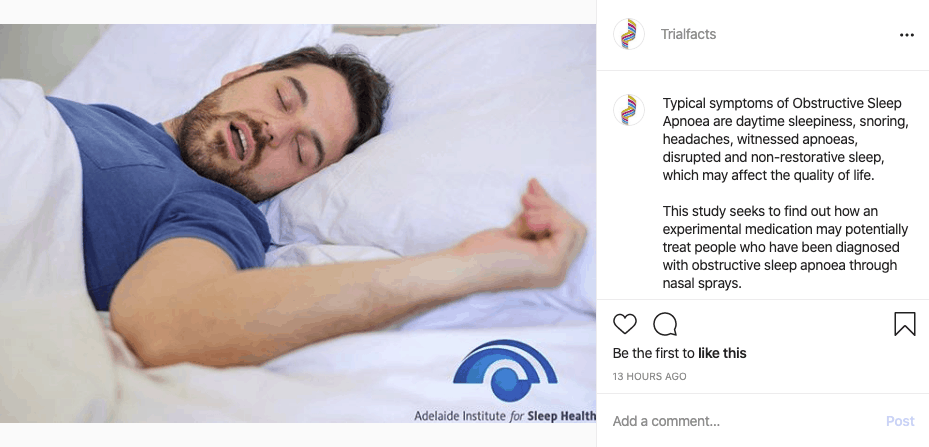Trialfacts Instagram Ad About Obstructive Sleep Apnoea Trial