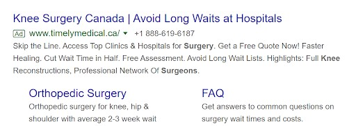 Timely Medical Alternatives Google Ad