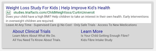 Kid's Weight Loss Study Ad