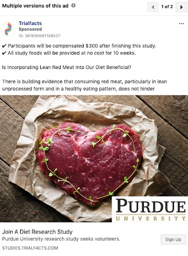 Purdue University Diet Study Facebook Ad